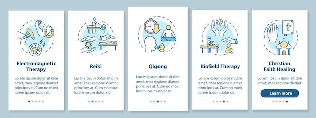 Zewnętrzna medycyna energetyczna, która zawiera ekran strony aplikacji mobilnej z koncepcjami. reiki, qigong, terapia biopolowa, opis pięciu kroków graficznych instrukcji. szablon wektorowy interfejsu użytkownika z kolorowymi ilustracjami rgb