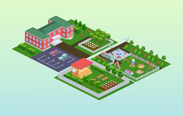 Zewnętrzna szkoła przedszkolna izometryczna. fasada budynku na zewnątrz, nauka lub rozrywka dla dzieci