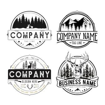Zewnętrzne herby retro, góry, drzewo, szablon logo zestaw przygodowy