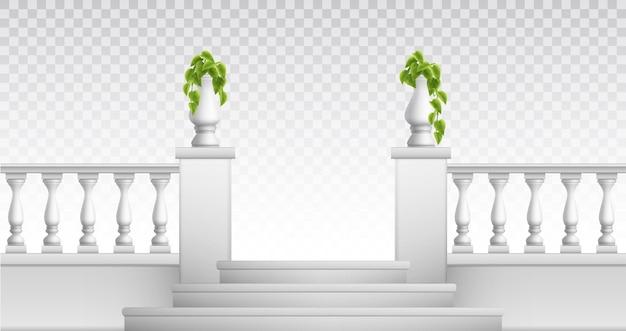 Zewnętrzne i zabytkowe elementy parkowe, takie jak realistyczne wazony ozdobne balustrady schodów