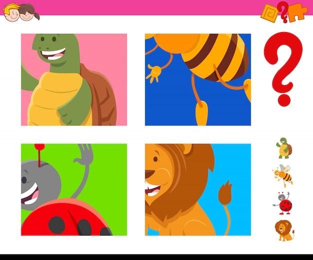 Zgadnij zadanie zwierząt z kreskówek dla dzieci