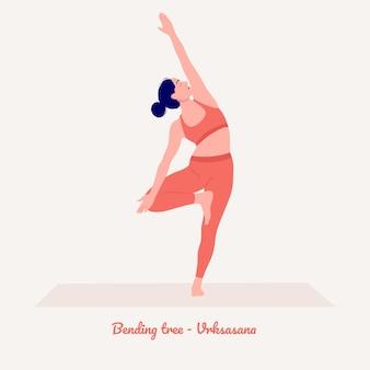 Zginanie drzewa pozycja jogi młoda kobieta ćwiczy ćwiczenia jogi