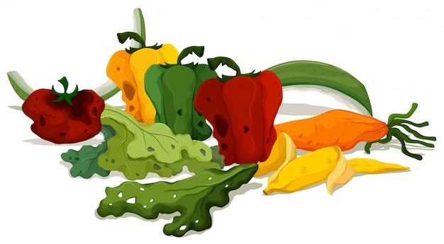 Zgniłe warzywa na podłodze
