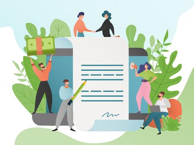 Zgoda ilustracja, ludzie postać z kreskówki podpisują uzgodnionego kontrakt. mężczyzna i kobieta zgadzają się na umowę biznesową i uścisk dłoni.