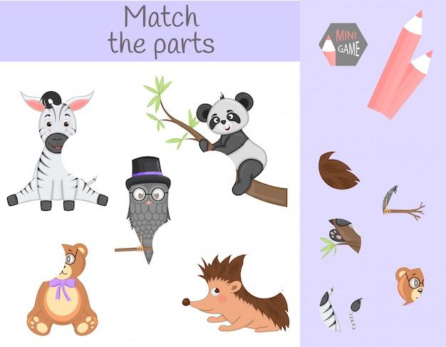 Zgodność z edukacyjną grą dla dzieci. dopasuj części zwierzęce. znajdź brakujące puzzle