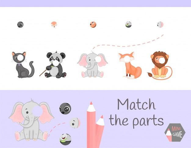 Zgodność z grą edukacyjną dla dzieci. dopasuj części zwierząt. znajdź brakujące puzzle