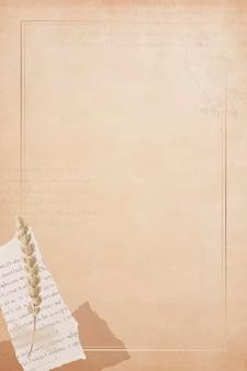 Zgrana gazeta i łodyga kwiatu na starym wektorze transparentu z brązowego papieru
