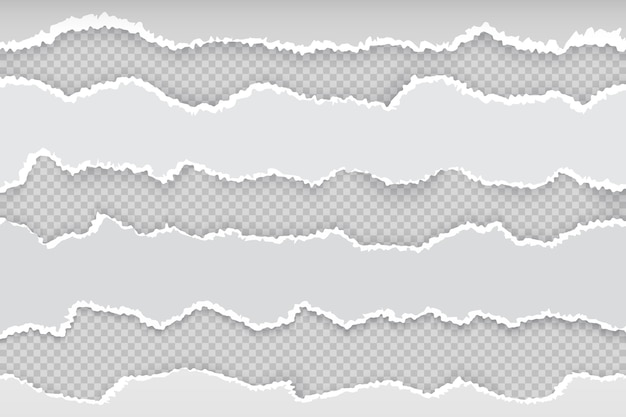 Zgrana strona papieru. poziome podarte paski gazety, realistyczna przezroczysta biała tekturowa krawędź rozdarcia. banner szorstka krawędź szara ilustracja