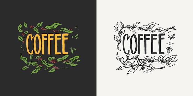 Ziarna kakaowca z liśćmi logo kawiarni i szablonami odznak w stylu vintage retro na koszulki