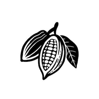 Ziarna kakaowe czarny symbol. na białym tle.
