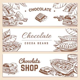 Ziarna kakaowego, czekoladowe produkty poziome wektor banery zestaw