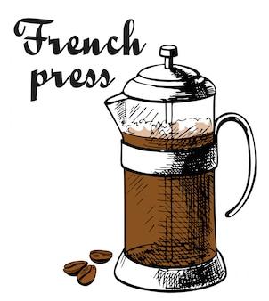 Ziarna kawy francuskiej prasy