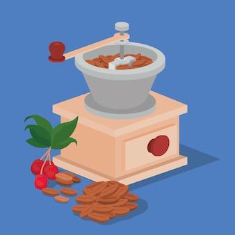 Ziarna kawy młynek do kawy jagody i liście projekt napoju kofeina śniadanie i motyw napoju.