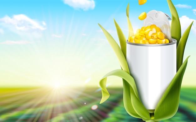 Ziarna kukurydzy mogą reklamy w 3d ilustracji na tle zielonego pola bokeh