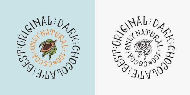 Ziarna owoców kakaowych lub ziarna vintage odznaka lub logo na koszulkach typografia sklep lub szyldy ręcznie