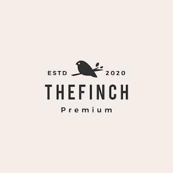 Zięba ptak hipster vintage logo ikona ilustracja