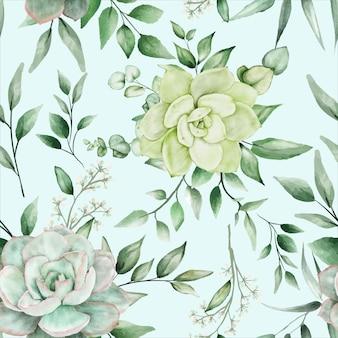 Zieleń akwarela kwiatowy wzór bez szwu