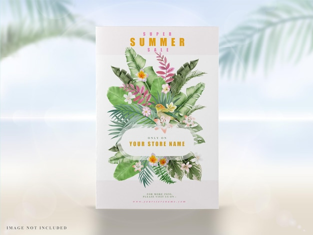 Zieleń kwiatowy tropikalny letni baner