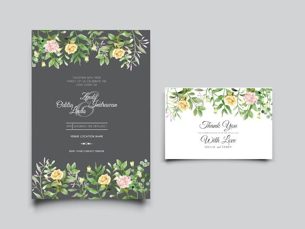 Zieleń kwiatowy zaproszenia ślubne akwarela