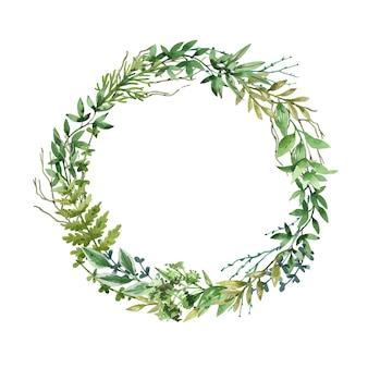 Zieleń ogrodowa i leśna okrągła rama ręcznie rysowane w akwareli.