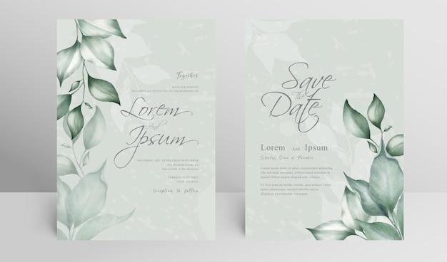 Zieleni zaproszenie na ślub zestaw kart szablon