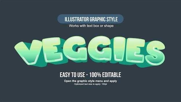 Zielona 3d łukowata typografia kreskówki