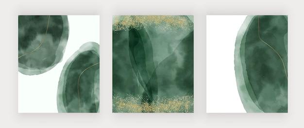 Zielona akwarela tekstury obrysu ze złotymi liniami brokatu