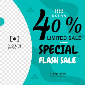 Zielona banner background abstract flash sale