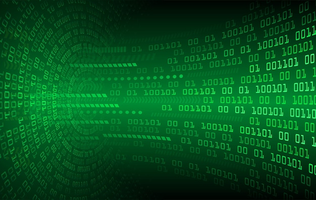 Zielona binarnego kodu obwodu deski cyber przyszłości technologia