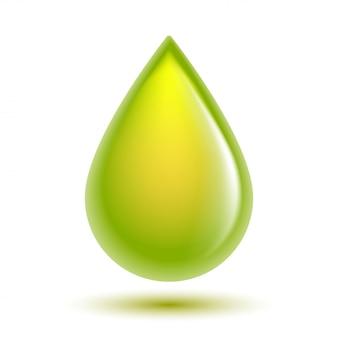 Zielona błyszcząca kropla na białym tle. symbol kropli biodiesla, benzyny, oleju, naturalnych płynów. koncepcja biopaliwa