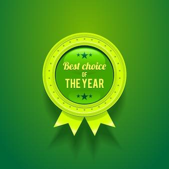 Zielona błyszcząca odznaka z wyborem roku.