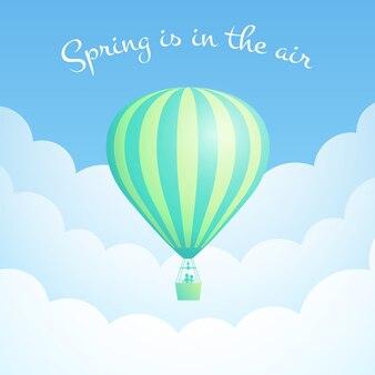 Zielona chmura balonu na gorące powietrze jest w powietrzu