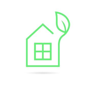 Zielona cienka linia eko dom logo. koncepcja mieszkania, alternatywna energia, innowacja, ubezpieczenie, środowisko, budownictwo, willa. płaski trend w nowoczesnym stylu graficznym marki na białym tle