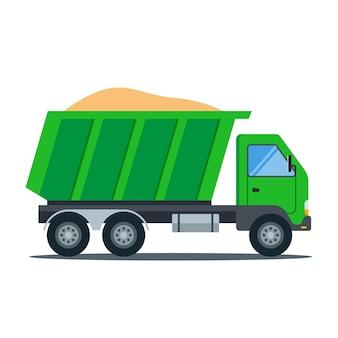 Zielona ciężarówka z piaskiem. transport budowlany. ilustracja wektorowa płaskie.