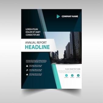 Zielona czarny raport roczny cover szablonu zestaw