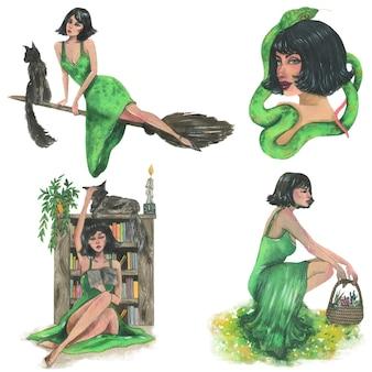 Zielona czarownica, akwarela ilustracja. pojedyncze elementy wektorów.