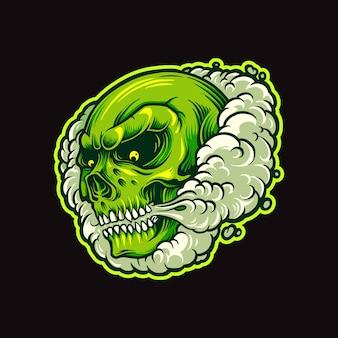 Zielona czaszka dym w chmurze ilustracja papierosów