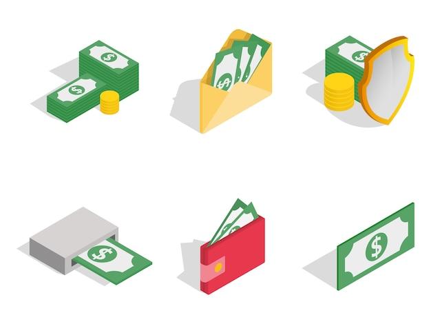Zielona dolarowa ikona ustawiająca na białym tle