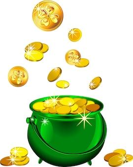 Zielona doniczka świętego patryka ze złotymi monetami