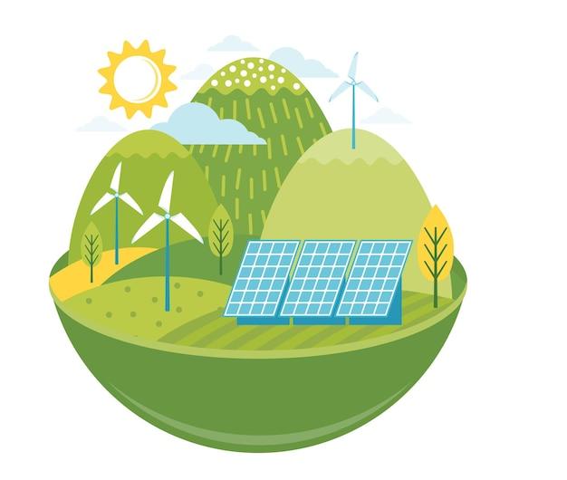 Zielona energia alternatywna. przyjazny dla środowiska krajobraz z ekologiczną infrastrukturą, panelami słonecznymi, wiatrakami, turbinami wiatrowymi