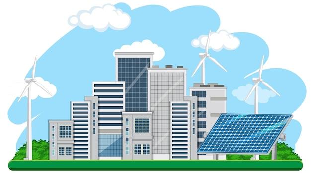 Zielona energia generowana przez turbinę wiatrową i panel słoneczny