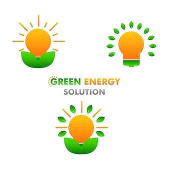 Zielona energia ilustracja koncepcja projektowania ilustracji odnawialnej i czystej energii na białym tle