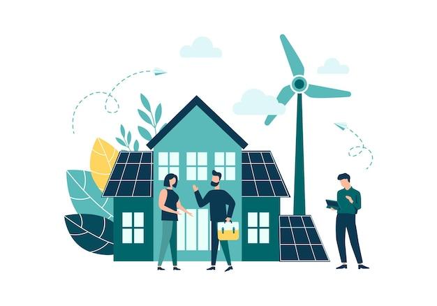 Zielona energia przyjazna dla środowiska energia w domu z paneli słonecznych i wiatraków koncepcja natura