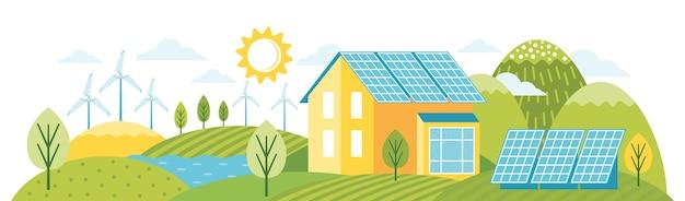 Zielona energia to ekologiczny nowoczesny dom. alternatywna energia. krajobraz przyjazny środowisku
