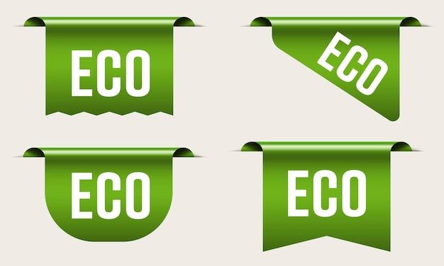 Zielona etykieta ekologiczna flaga zakupy dla zestawu produktów naturalnych. realistyczna wstążka ekologicznej świeżej żywności