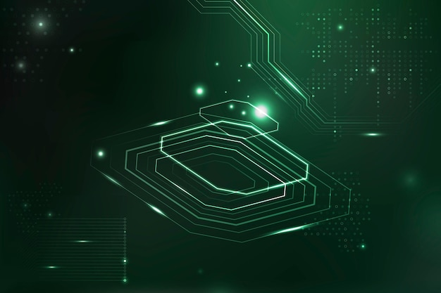 Zielona futurystyczny mikrochip w tle informacji cyfrowej transformacji