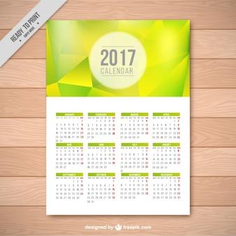 Zielona geometryczne szablon kalendarza 2017