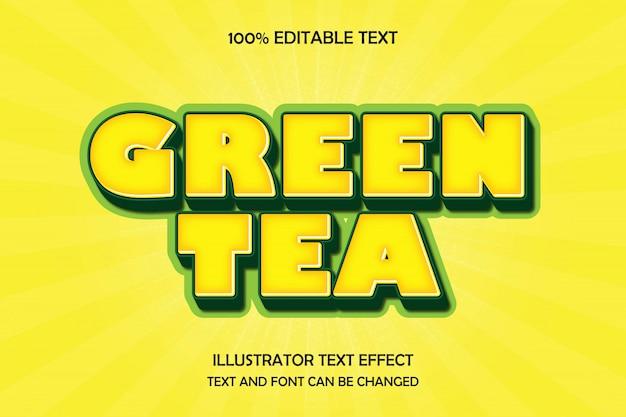Zielona herbata, edytowalny tekst efekt nowoczesnego stylu komiksowego cienia