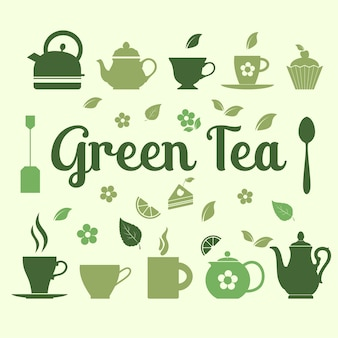 Zielona herbata ilustracji ikon