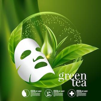 Zielona herbata maska do twarzy koncepcja serum kosmetyk do skóry
